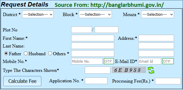 Banglarbhumi Plot Info Request