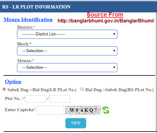 Banglarbhumi RS-LR Plot Information at banglarbhumi.gov.in