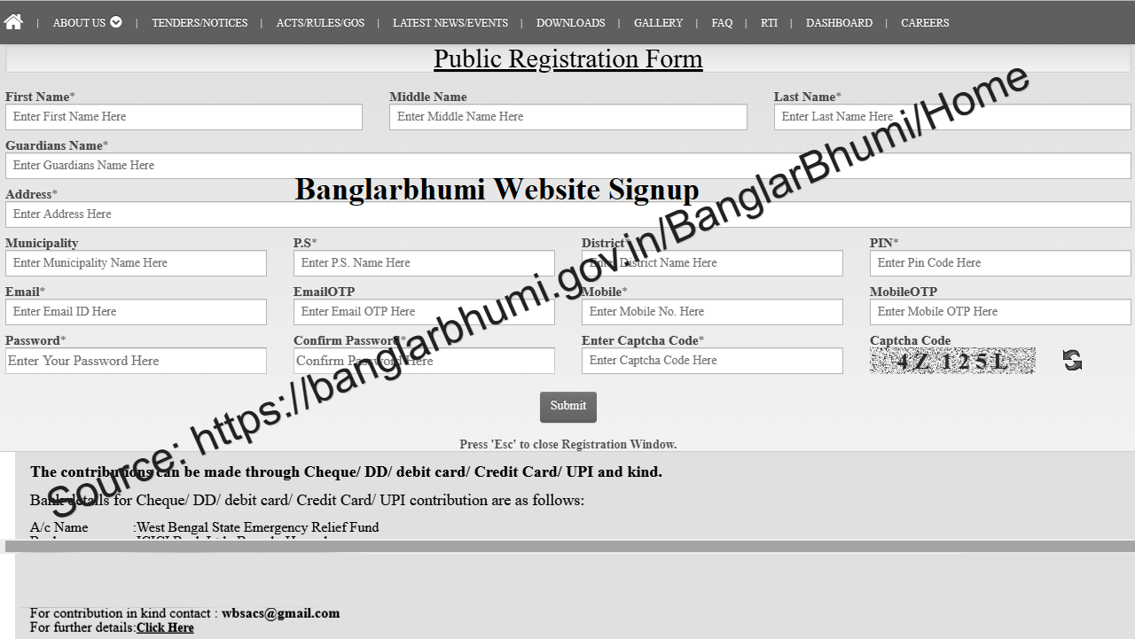 Banglarbhumi signup registration